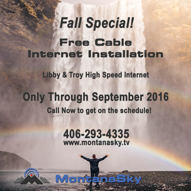 Fall 2016 special. Free Internet Installation for Cable Internet.